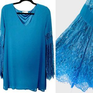 LoveRiche Bell Sleeve Lacy Teal V-Neck Mini Dress